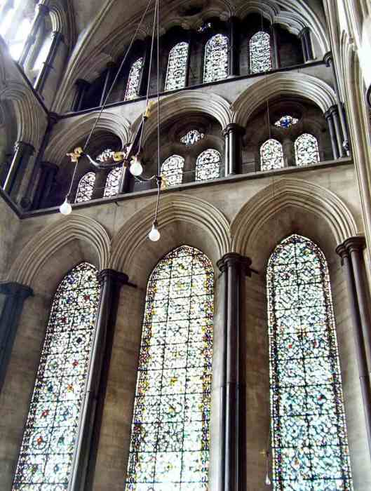 Image of the north transept windows in Salisbury Cathedral in England.
