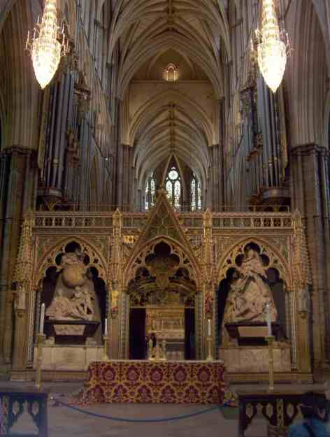 An image inside Westminster Abbey in London, England.
