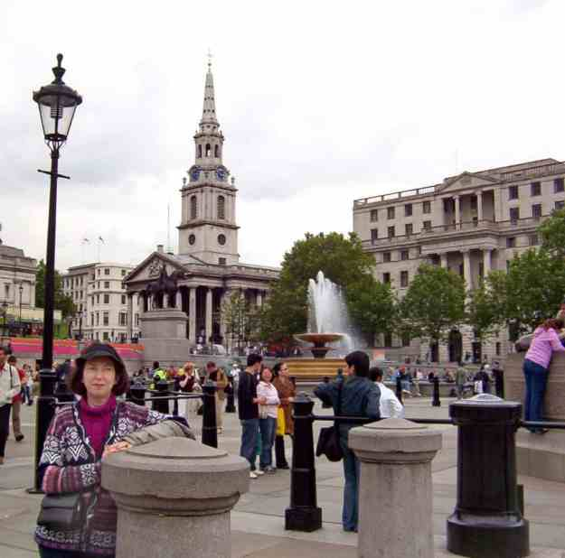 An image of Trafalgar Square in London, England.
