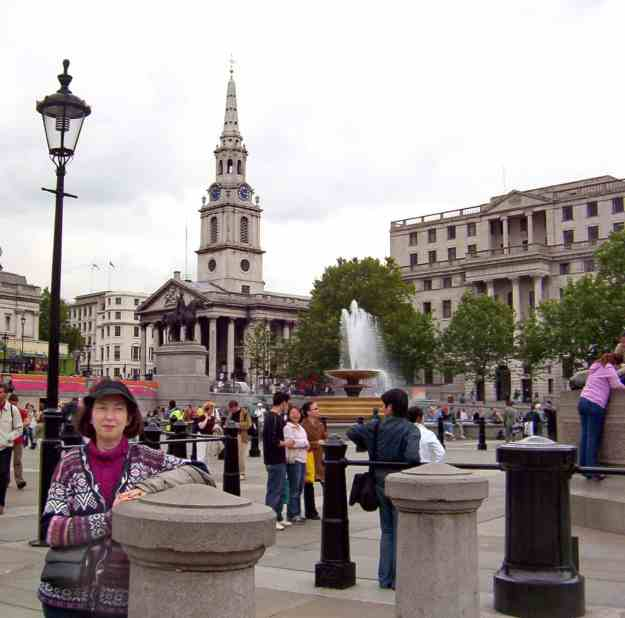 An image of Trafalgar Square in London, England.