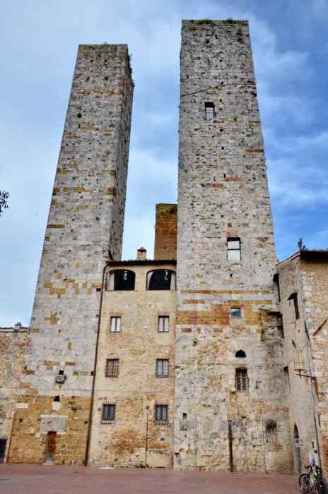Image of the Salvucci Towers inside San Gimignano, Italy.