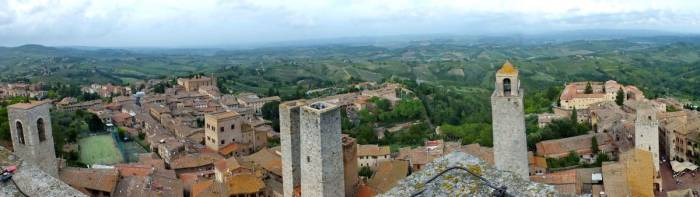 Panoramic image of the village of San Gimignano, Italy.