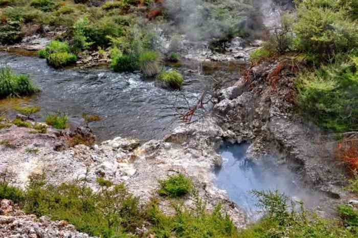 Image of a river at Te Puia Geothermal Preserve, Rotorua, New Zealand