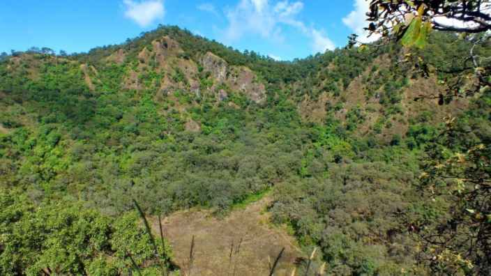 view from a lookout at cerro de san juan ecological preserve near tepic, mexico