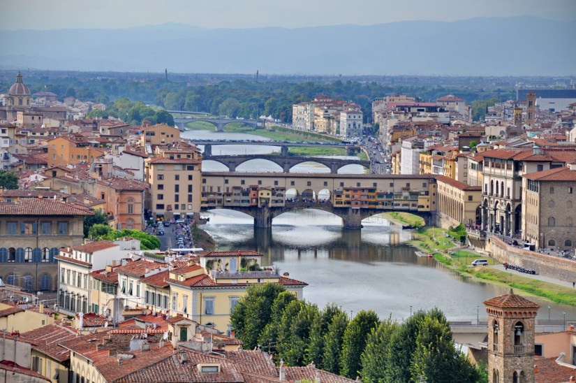 ponte vecchio and river arno, florence, italy