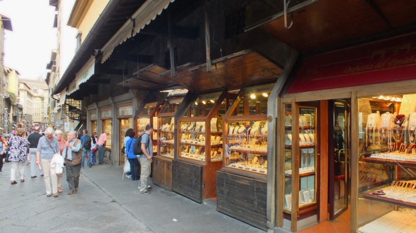 shops on ponte vecchio, florence, italy