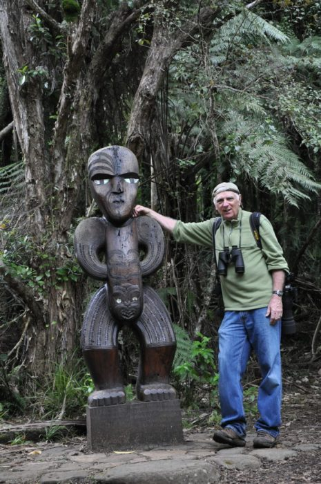 bob with sculpture, ark in the park, waitakere ranges regional park, north island, new zealand