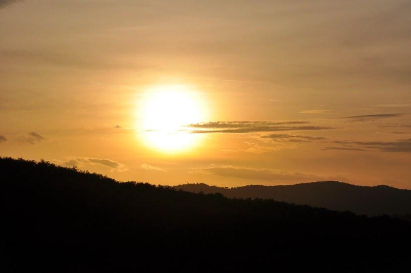 sunset over tuscany, italy