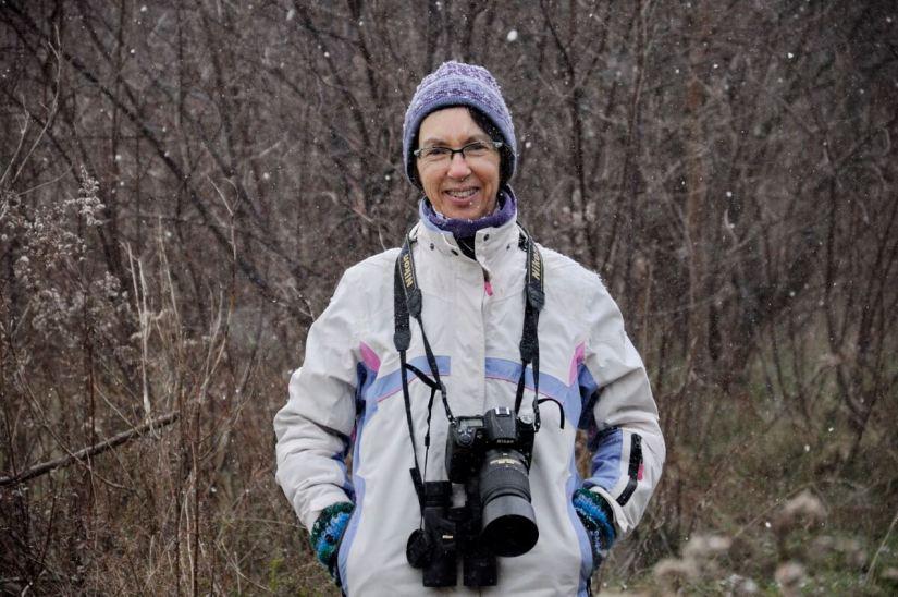 jean in a light snowfall, ontario, canada