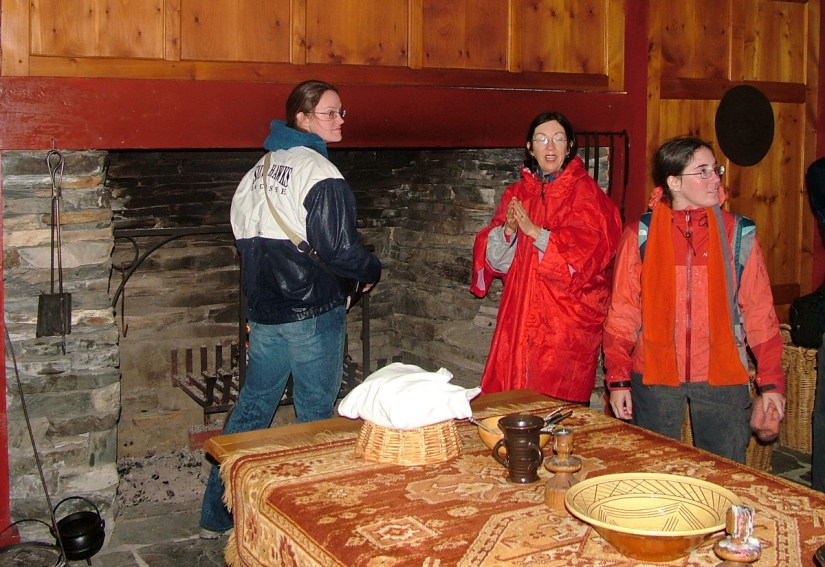 group tour inside 17-th century kitchen, colony of avalon, newfoundland, canada