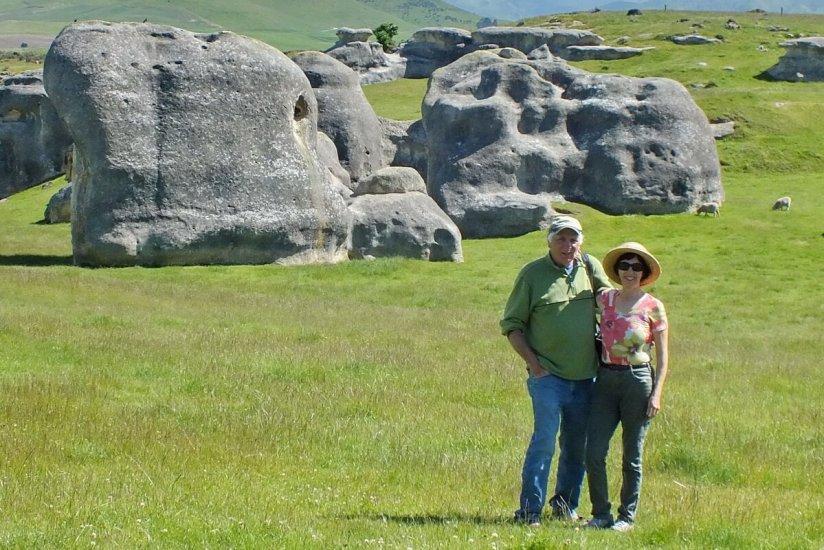 jean and bob at elephant rocks, south island, new zealand