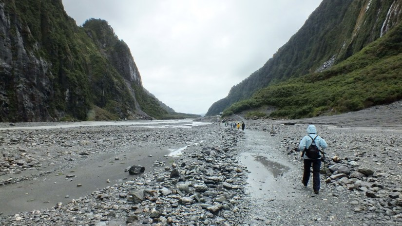 jean hiking in fox glacier valley, south island, new zealand