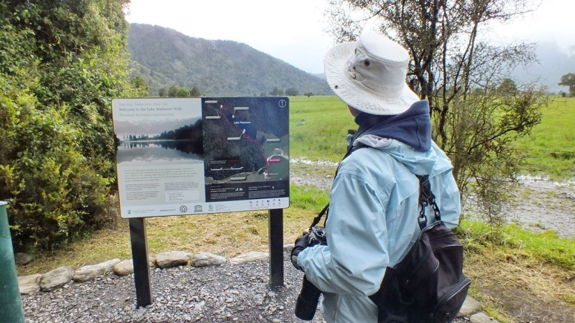 jean looking at a trail map, lake matheson, south island, new zealand