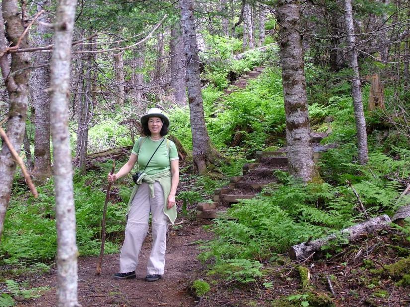 jean on gros morne mountain trail, newfoundland, canada