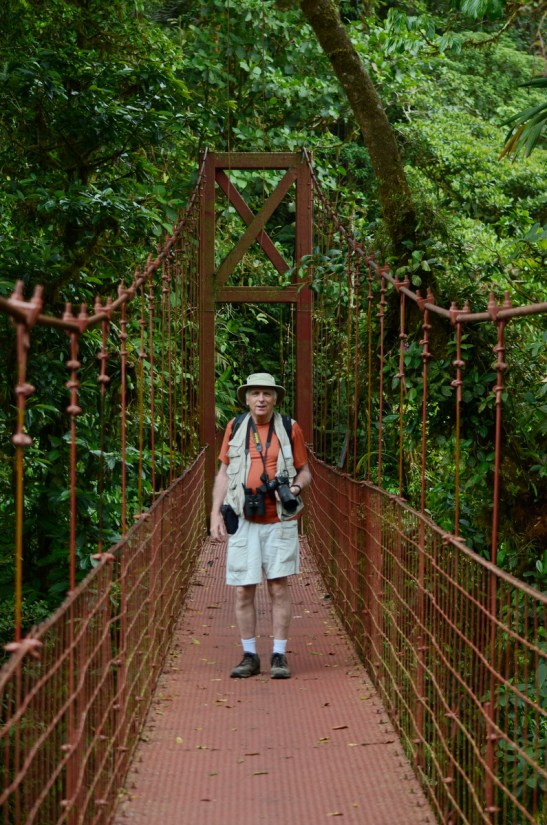 bob on the hanging bridge, monteverde cloud forest preserve, costa rica