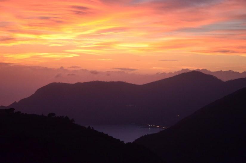sunset over Monterosso al Mare, cinque terre, italy