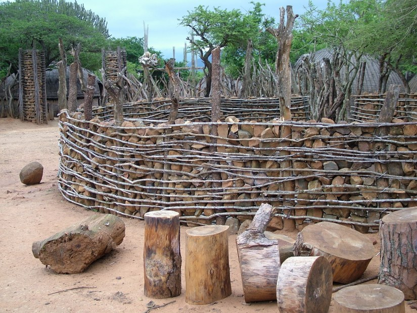 fence around a kraal, shakaland, kwazulu-natal, south africa