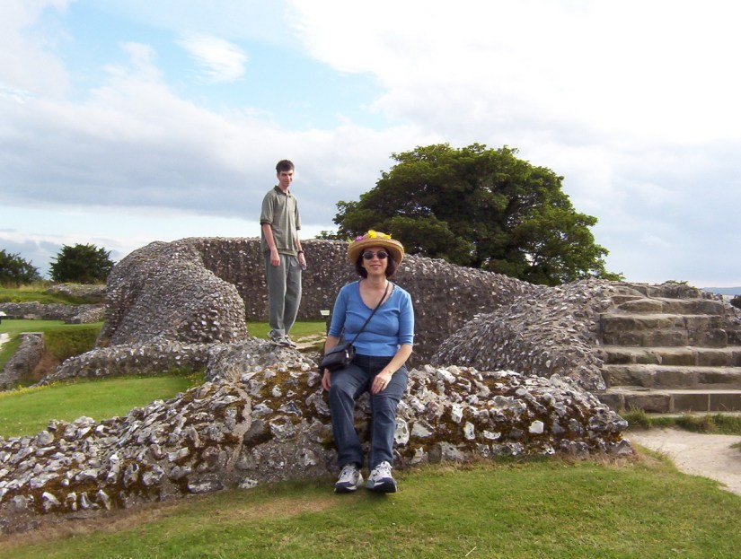 jean and son at iron age hill fort ruins, Old Sarum, Wiltshire Plains, England
