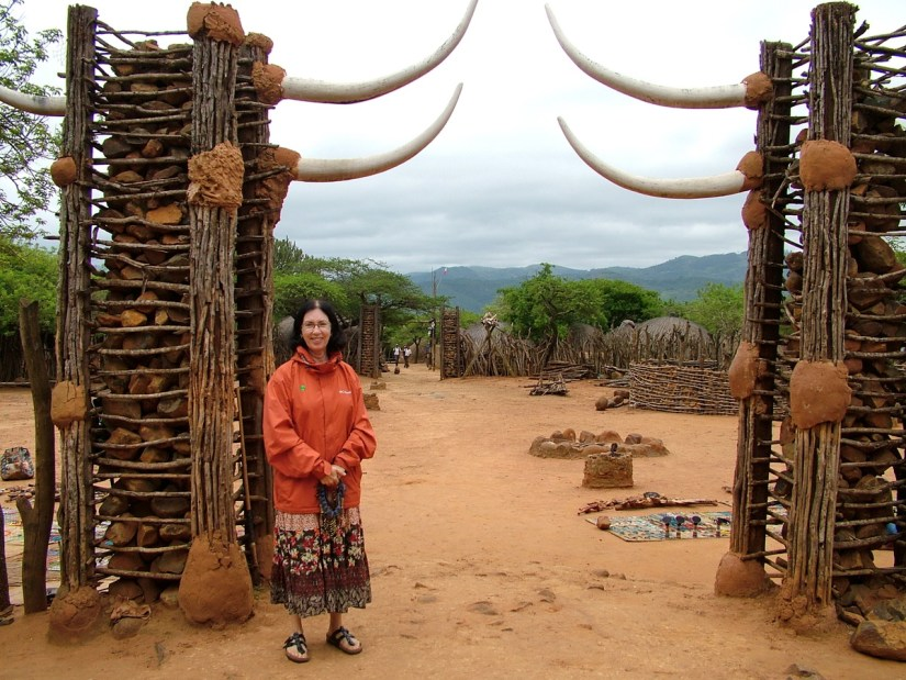 jean at the entrance of shakaland, kwazulu-natal, south africa