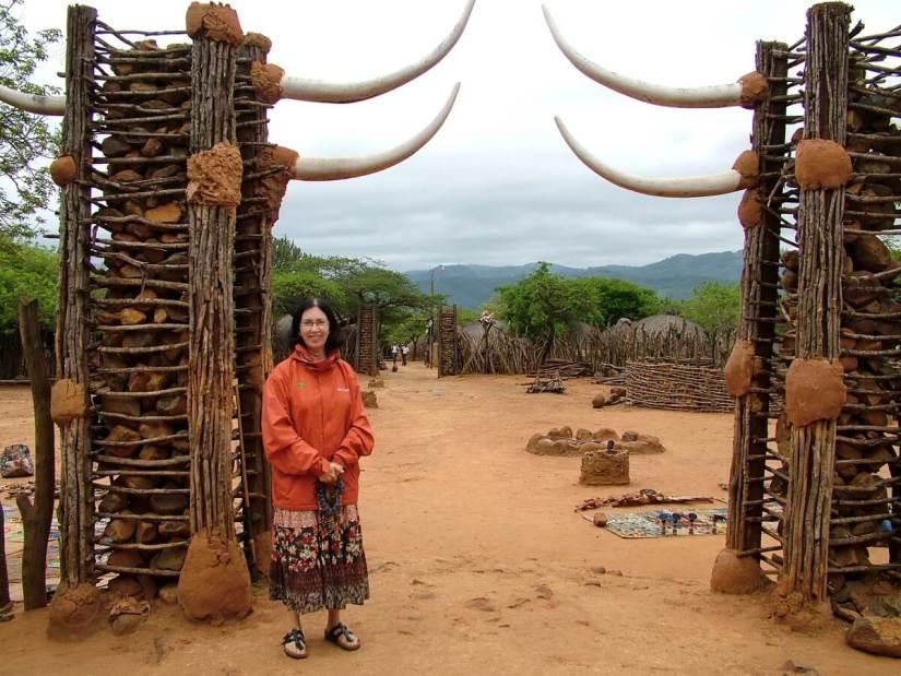 jean at the entrance of shakaland, kwazulu-natal, south africa