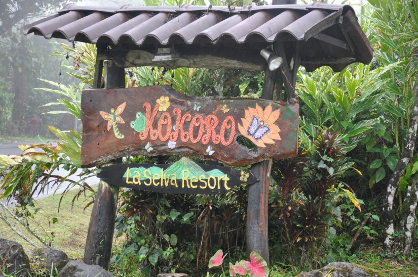 kokoro lodge sign, la fortuna, costa rica
