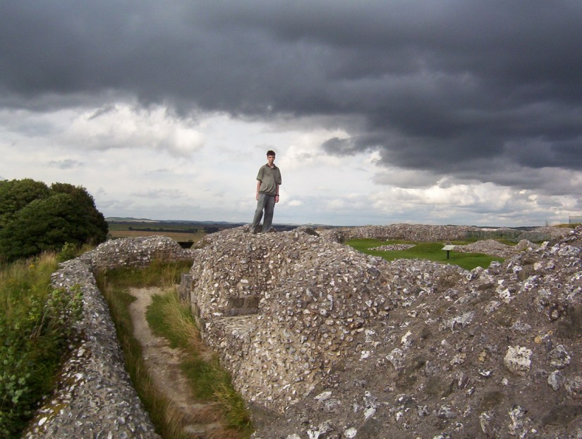 iron age hill fort ruins, Old Sarum, Wiltshire Plains, England