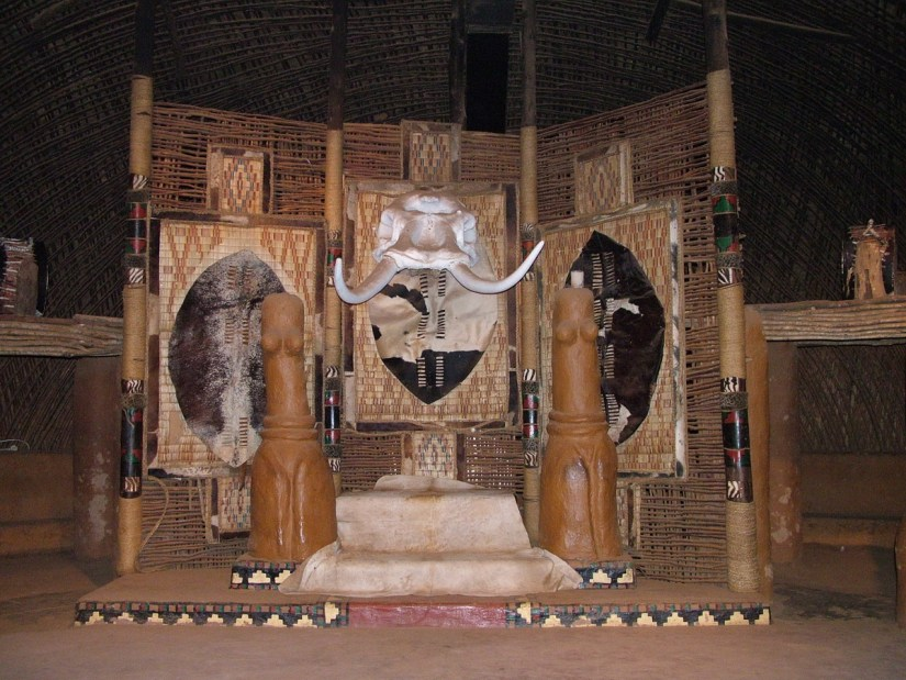 the king's throne inside the assembly hall, shakaland, kwazulu-natal, south africa