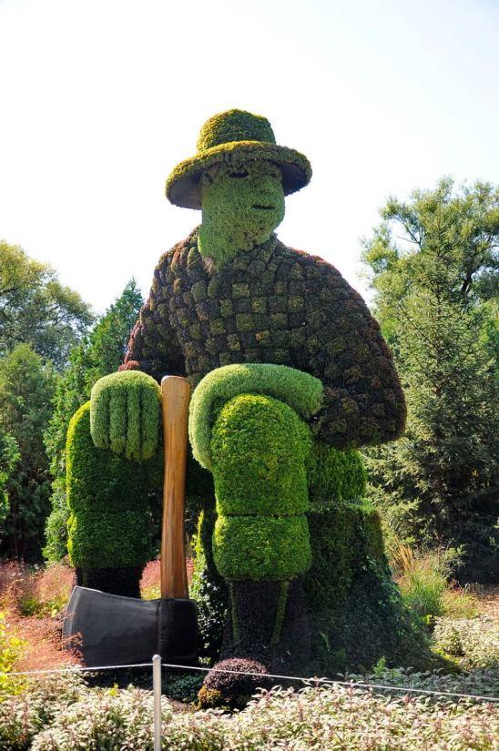 a lumberjack, mosaiculture 2018, gatineau, quebec, canada