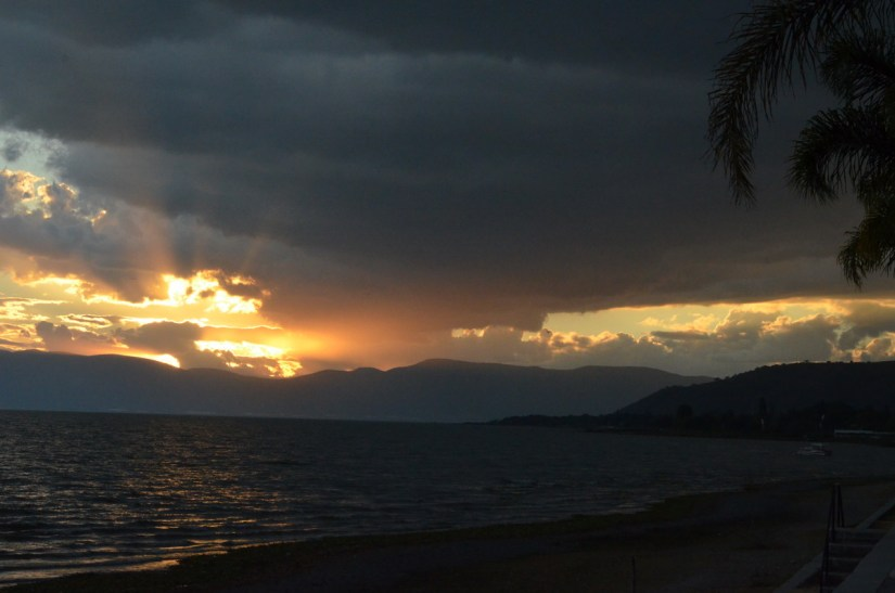 storm clouds at sunset, lake chapala, mexico