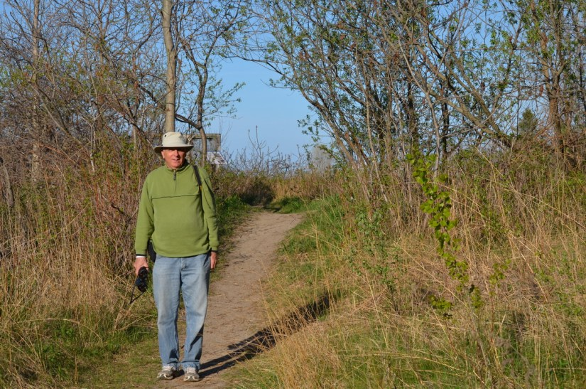 bob on a trail, the old cut, long point, ontario