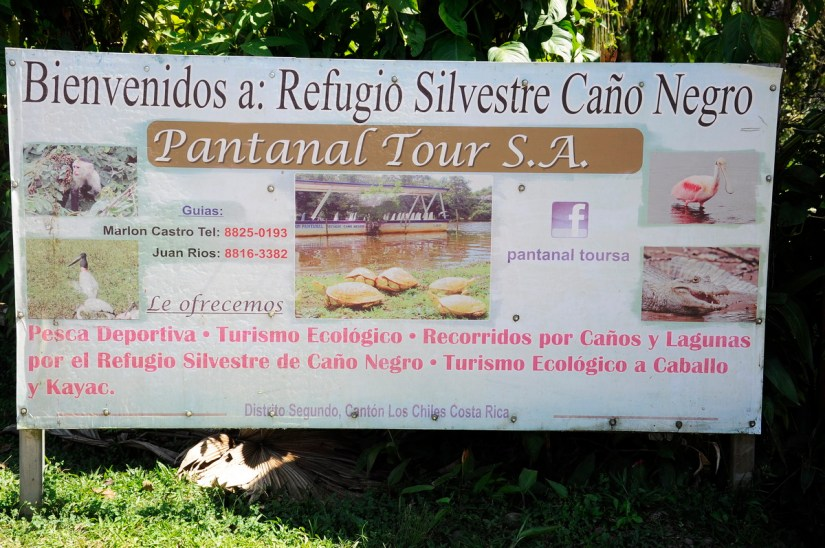 sign for cano negro wildlife refuge, costa rica