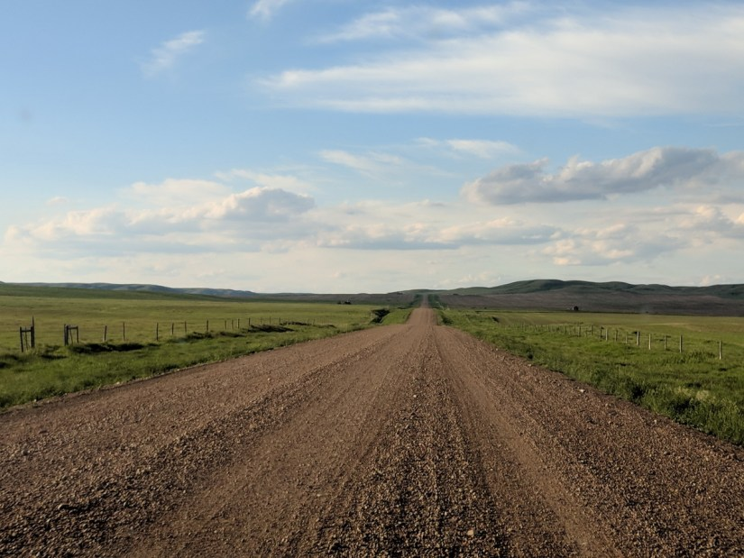gravel road, saskatchewan