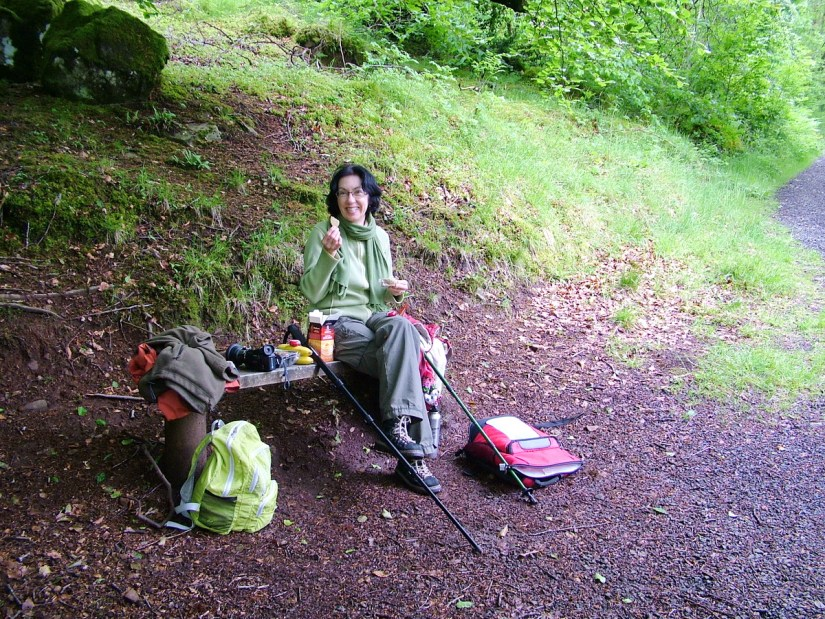 jean having a picnic, glenariff forest park, northern ireland