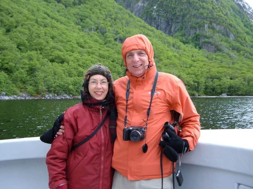 bob and jean on a tour boat, western brook pond, gros morne national park, newfoundland, canada