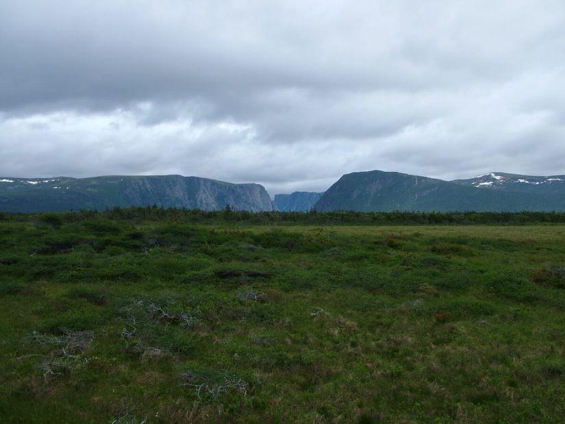 long range mountains at western brook pond, gros morne national park, newfoundland, canada