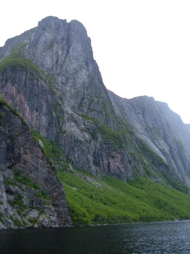 steep cliffs of the fjord, western brook pond, gros morne national park, newfoundland, canada