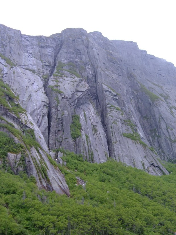sheer cliffsides, western brook pond, gros morne national park, newfoundland, canada