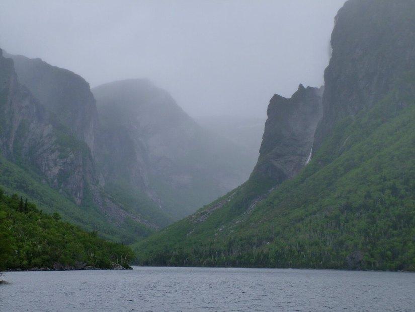 foggy western brook pond, gros morne national park, newfoundland, canada