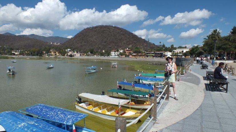 boats for hire along a pier, lake chapala, mexico