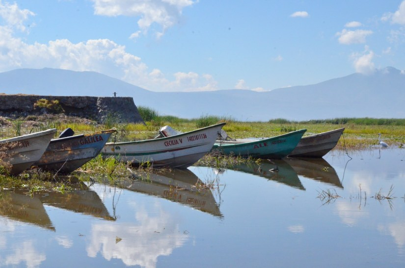 motorboats reflected in lake chapala, mexico
