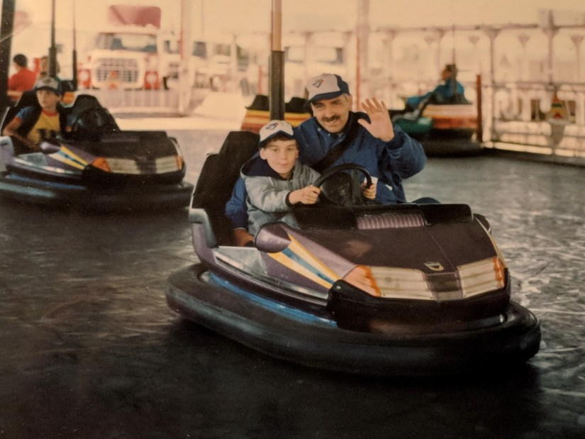 bob and son on the bumper cars, markham fair, 1985