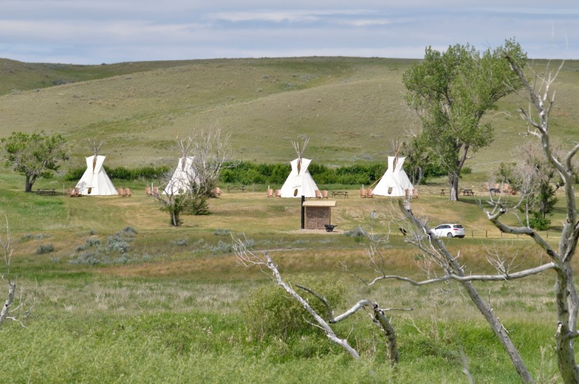 the campground at two tree & riverwalk trail, grasslands national park, saskatchewan