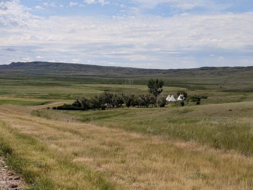 campground at two tree & riverwalk trail, grasslands national park, saskatchewan