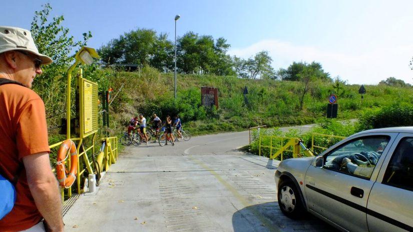 ferry landing, reno river, sant'alberto, italy