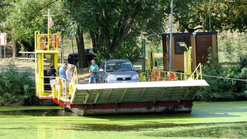 ferry, reno river, sant'alberto, italy