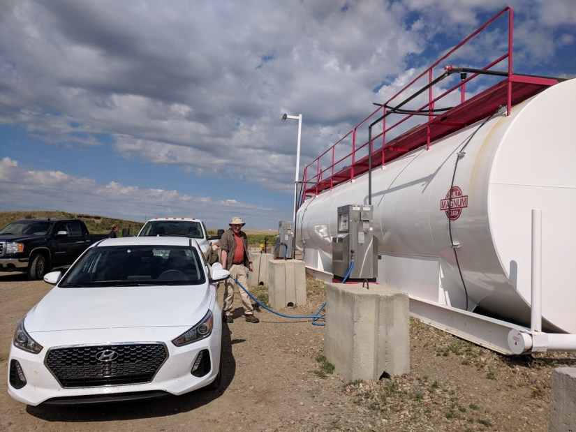 unusual gasoline station, val marie, saskatchewan, near Grasslands National Park