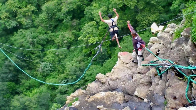 a bungee jumper at oribi gorge, south africa