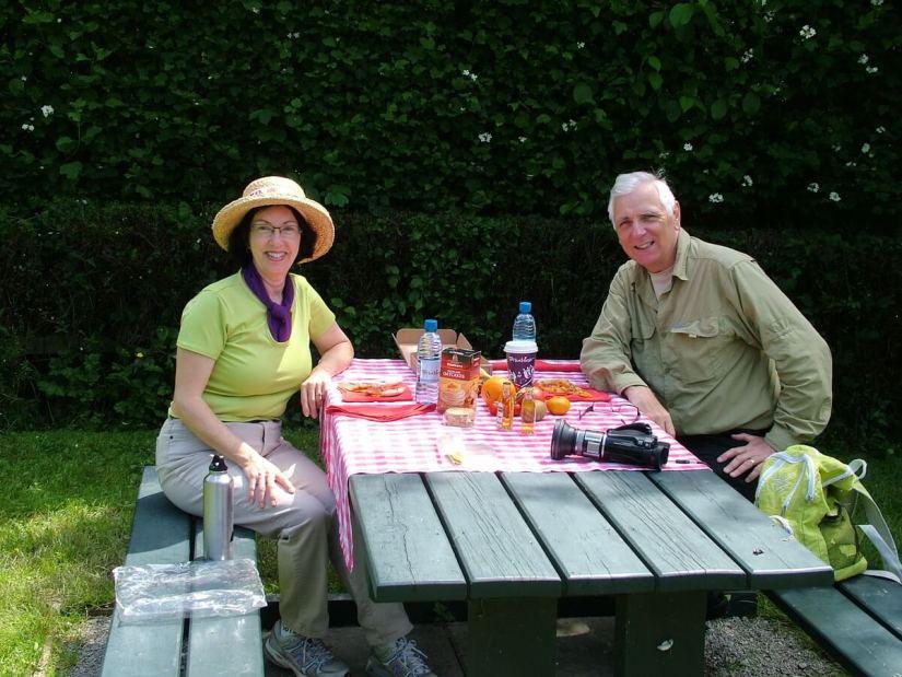 jean and bob picnicking at newgrange, county meath, ireland