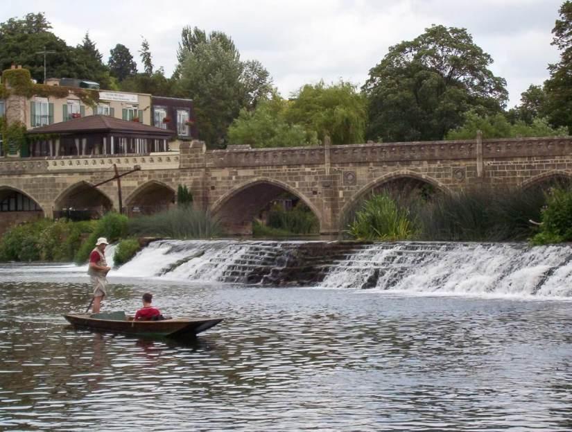 a punt at batheaston, bathampton toll bridge, avon river, bath, england