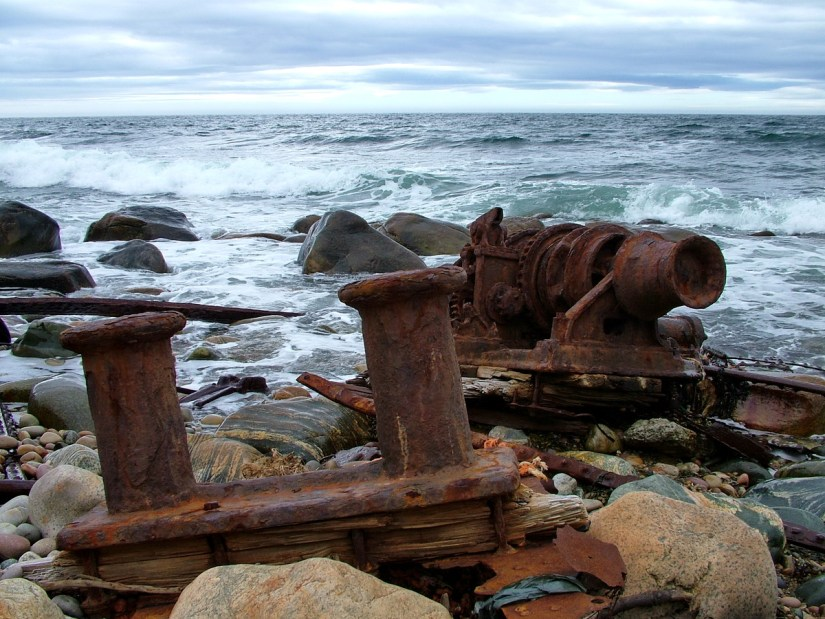 the wreck of the s.s. ethie, martin's point, newfoundland, canada